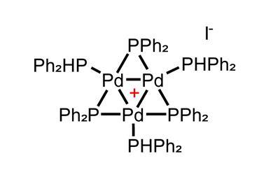 A picture showing the structure of the trimeric palladium cation