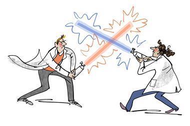An illustration depicting fumehood wars