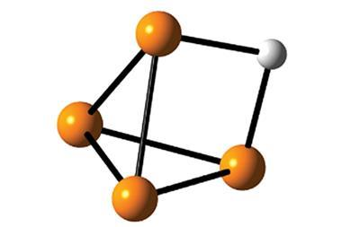 A structure showing that the weakly bonded hydrogen of [P4H]+ sits on the edge of the P4-tetrahedron