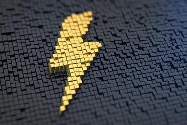 Lightning symbol consisting of yellow square pixels on a black matrix background