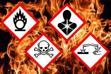 Globally Harmonized System of Classification and Labelling of Chemicals (GHS) pictograms for chlorine trifluoride on a background of flames