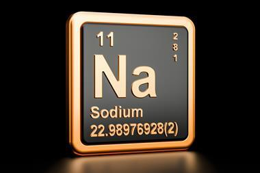 An image showing the sodium element as it appears in the periodic table
