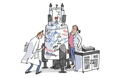 An image showing two chemists standing next to an NMR machine filled with hearts and love messages