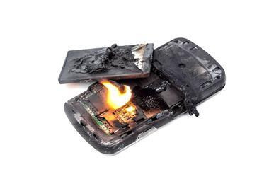 Photo showing a mobile phone battery post explosion