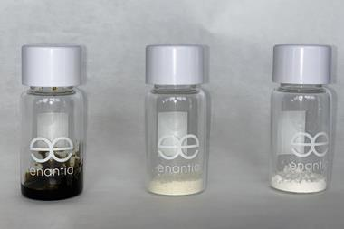 An image showing 3 vials holding concentrated Cannabis sativa extract, a co-crystal of CBD from the former sample  and CBD liberated from co-crystal