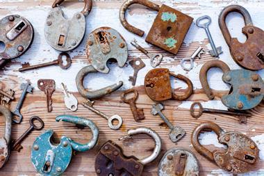 Old broken padlocks