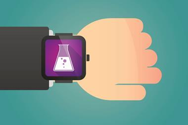 diagram of smart watch with conical flask on it