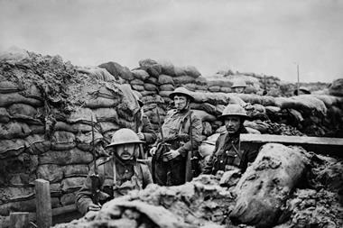 British World War 1 soldiers in a front line trench, 1915-18