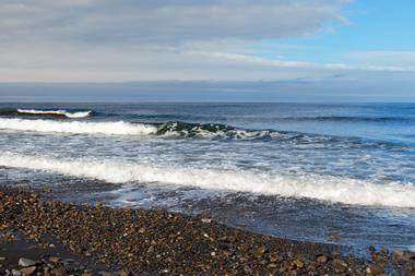 rocky beach north of the Arctic Sea