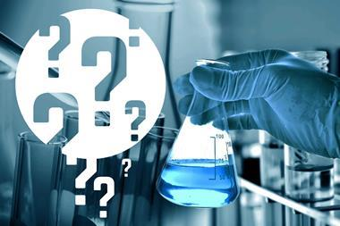 Question marks on a scientific experiment