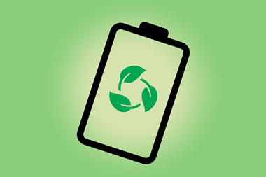 An image showing a battery icon with a biodegradable symbol on it