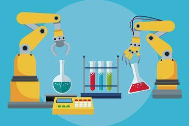 Industrial robotic arm chemical test tube laboratory