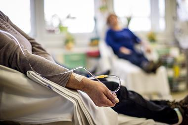 Cancer patients receiving chemotherapy treatment in a hospital