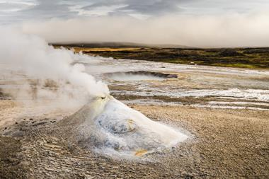 Hydrogen sulfide hot spring in Iceland