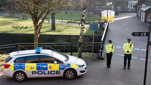 A police tent is seen behind a cordon outside The Maltings shopping centre where a man and a woman were found critically ill on a bench on March 4 and taken to hospital sparking a major incident, on March 7, 2018 in Wiltshire, England. Sergei Skripal, who