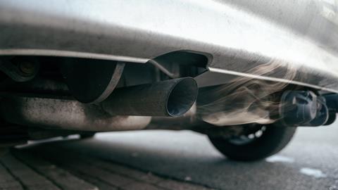 Car engine emitting nitrogen dioxide