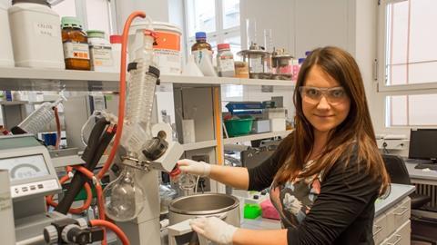 A photograph of Martina Hestoricova in a laboratory