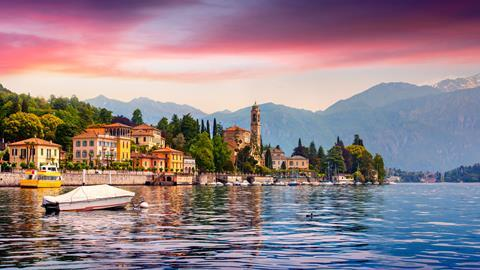 A photograph of Mezzegra town on Lake Como, Lombardy, Italy
