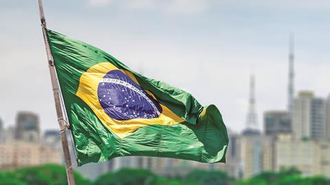 Flag of Brazil in Sao Paulo
