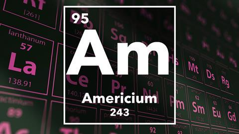 Periodic table of the elements – 95 – Americium