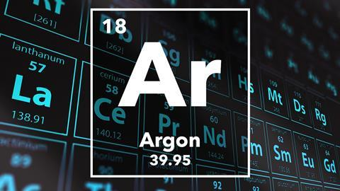 Periodic table of the elements – 18 – Argon