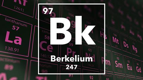 Periodic table of the elements – 97 – Berkelium