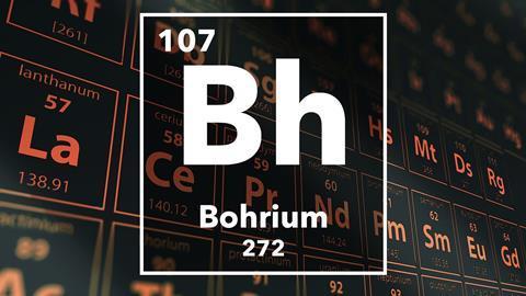 Periodic table of the elements – 107 – Bohrium
