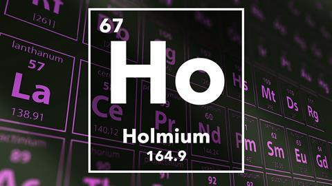 Periodic table of the elements – 67 – Holmium