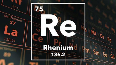 Periodic table of the elements – 75 – Rhenium