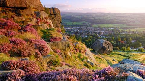 An image showing the Cow & Calf rocks on Ilkley Moor