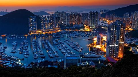 Hong Kong sunset typhoon shelters