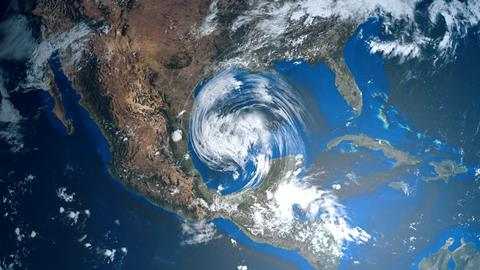 A satellite image of a hurricane in the Gulf of Mexico