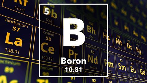 Periodic table of the elements – 5 – Boron