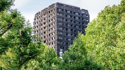 London, UK - June 15, 2017: The 24-storey Grenfell Tower one day after the fire.