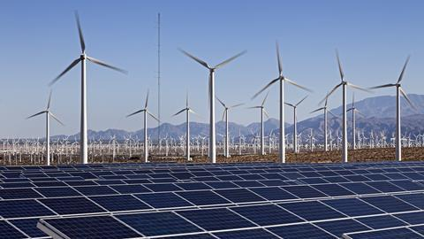 An image showing electric windmills and solar panels