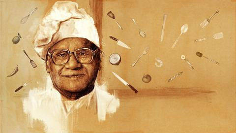 An illustrated portrait of CNR Rao