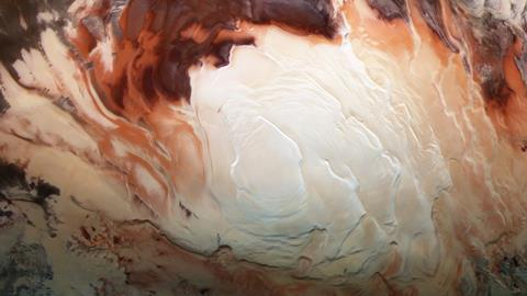 Icy caps captured on Mars' south pole