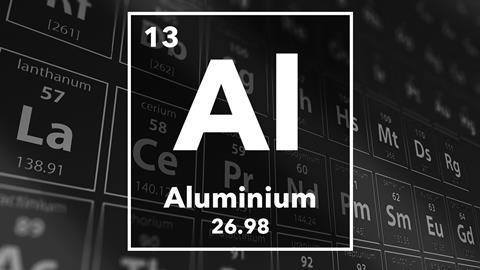 Periodic table of the elements – 13 – Aluminium
