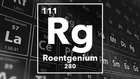 Periodic table of the elements – 111 – Roentgenium