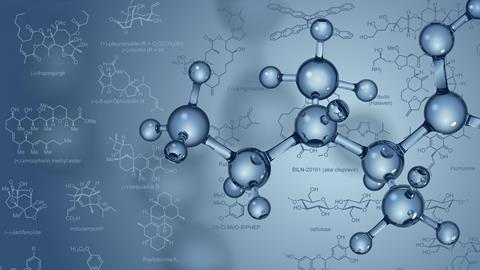 ChemDraw diagrams and a glass-like molecule model