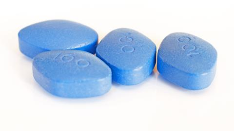 Unbranded blue pills for erectile dysfunction treatment. Possibly sildenafil citrate, marketed as Viagra.