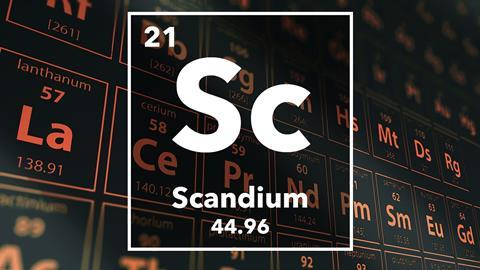 Periodic table of the elements – 21 – Scandium
