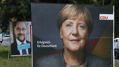 Election posters of the German Chancellor Angela Merkel (CDU) and her challenger, Martin Schulz (SPD), in the upcoming elections, Berlin.