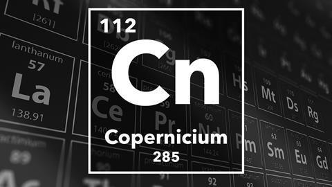 Periodic table of the elements – 112 – Copernicium