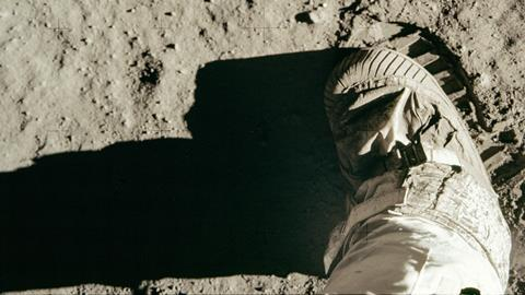 An image showing the first step on the Moon