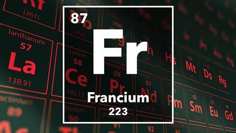 Periodic table of the elements – 87 – Francium