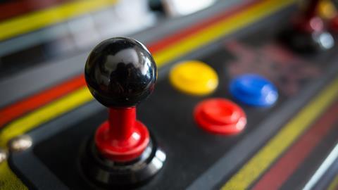 Joystick on a vintage arcade machine
