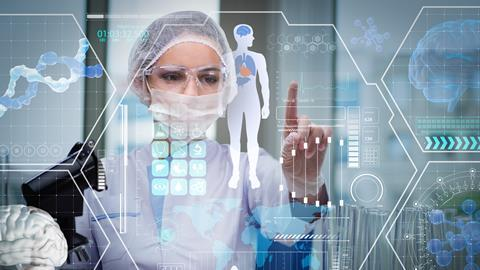 A futuristic concept image of a doctor pressing a button on a holographic display