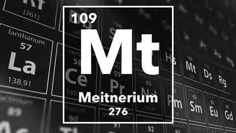 Periodic table of the elements – 109 – Meitnerium