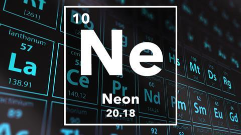 Periodic table of the elements – 10 – Neon